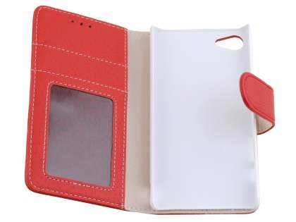 Slim Synthetic Leather Wallet Case with Stand for Sony Xperia Z5 Compact - Red
