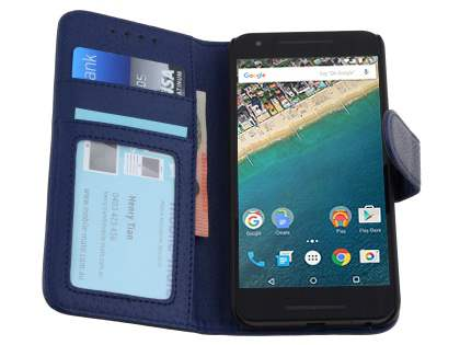 Slim Synthetic Leather Wallet Case with Stand for LG Nexus 5X - Dark Blue