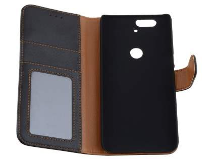 Synthetic Leather Wallet Case with Stand for Huawei Nexus 6P - Classic Black