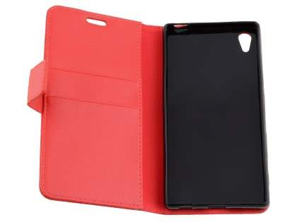 Slim Synthetic Leather Wallet Case with Stand for Sony Xperia Z5 - Red