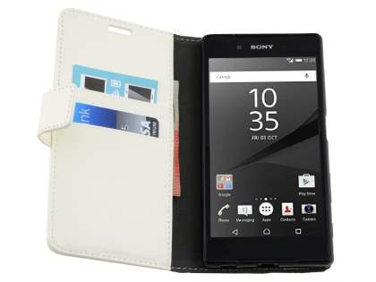 Slim Synthetic Leather Wallet Case with Stand for Sony Xperia Z5 - Pearl White