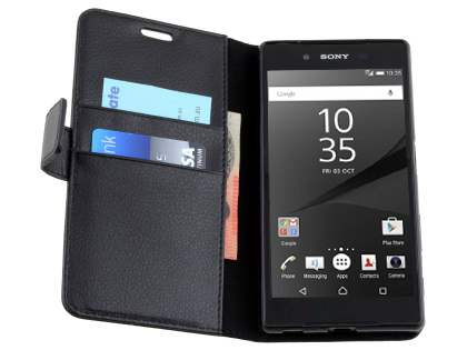 Slim Synthetic Leather Wallet Case with Stand for Sony Xperia Z5 - Classic Black