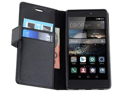 Synthetic Leather Wallet Case with Stand for Huawei P8 - Classic Black