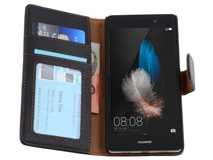 Synthetic Leather Wallet Case with Stand for Huawei P8Lite - Classic Black