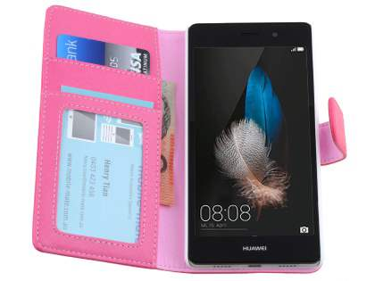 Synthetic Leather Wallet Case with Stand for Huawei P8Lite - Hot Pink