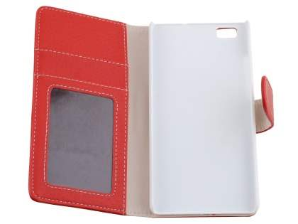 Synthetic Leather Wallet Case with Stand for Huawei P8Lite - Red