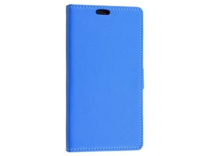 Slim Synthetic Leather Wallet Case with Stand for Sony Xperia M4 Aqua - Blue