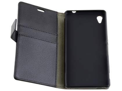 Slim Synthetic Leather Wallet Case with Stand for Sony Xperia M4 Aqua - Classic Black