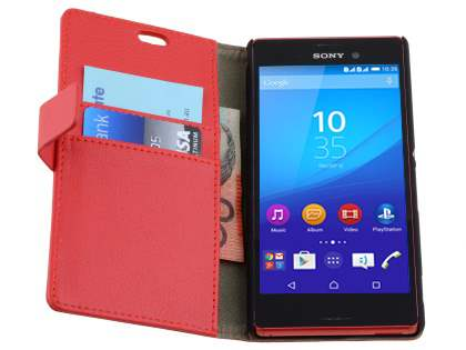 Slim Synthetic Leather Wallet Case with Stand for Sony Xperia M4 Aqua - Red