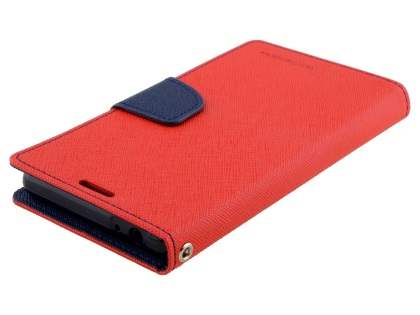 Mercury Colour Fancy Diary Case with Stand for Sony Xperia M5 - Red/Navy