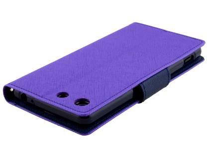 Mercury Colour Fancy Diary Case with Stand for Sony Xperia M5 - Purple/Navy