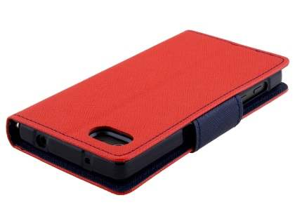 Mercury Goospery Colour Fancy Diary Case with Stand for Sony Xperia Z5 Compact - Red/Navy