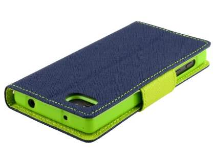 Mercury Goospery Colour Fancy Diary Case with Stand for Sony Xperia Z5 Compact - Navy/Lime