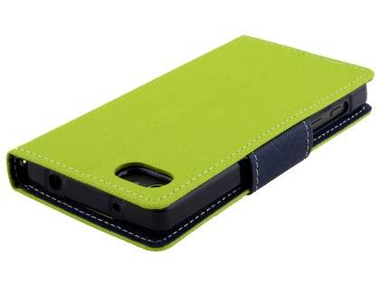 Mercury Colour Fancy Diary Case with Stand for Sony Xperia Z5 Compact - Lime/Navy