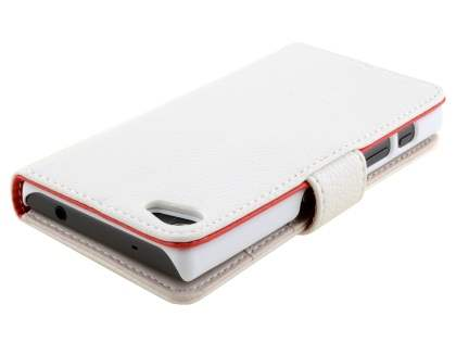 Slim Synthetic Leather Wallet Case with Stand for Sony Xperia Z5 Compact - Pearl White