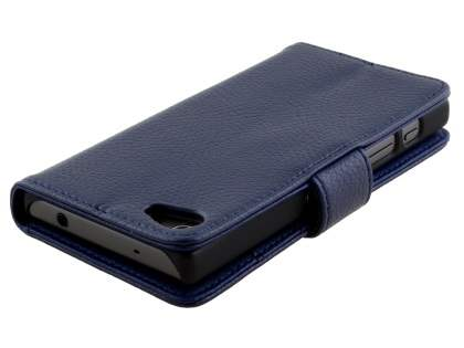 Slim Synthetic Leather Wallet Case with Stand for Sony Xperia Z5 Compact - Dark Blue
