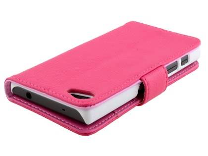 Slim Synthetic Leather Wallet Case with Stand for Sony Xperia Z5 Compact - Pink
