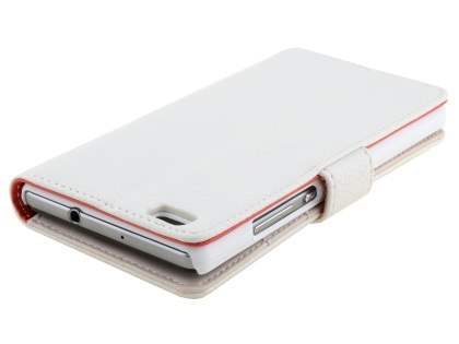 Synthetic Leather Wallet Case with Stand for Huawei P8Lite - Pearl White