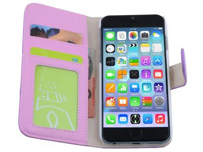 Synthetic Leather Wallet Case with Stand for iPhone 6s Plus/6 Plus - Light Purple