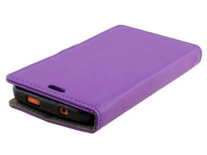 Slim Synthetic Leather Wallet Case with Stand for ZTE Telstra Tough Max - Purple