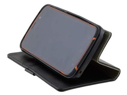 Slim Synthetic Leather Wallet Case with Stand for ZTE Telstra Tough Max - Classic Black