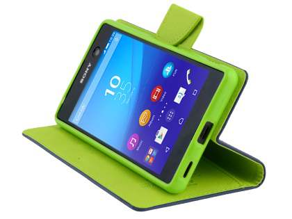 Mercury Colour Fancy Diary Case with Stand for Sony Xperia M5 - Navy/Lime