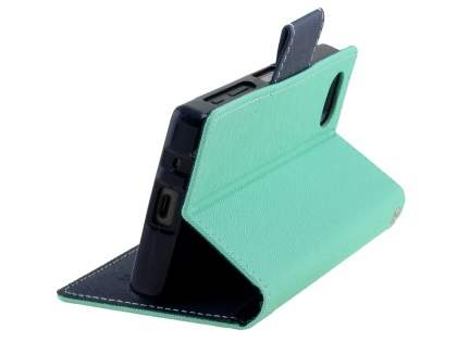 Mercury Colour Fancy Diary Case with Stand for Sony Xperia Z5 Compact - Mint/Navy