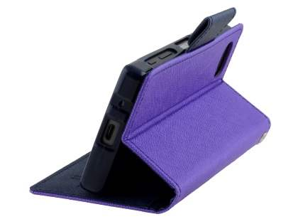 Mercury Colour Fancy Diary Case with Stand for Sony Xperia Z5 Compact - Purple/Navy