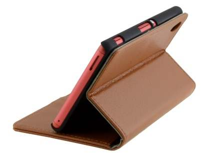 Slim Synthetic Leather Wallet Case with Stand for Sony Xperia M4 Aqua - Brown