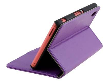 Slim Synthetic Leather Wallet Case with Stand for Sony Xperia M4 Aqua - Purple