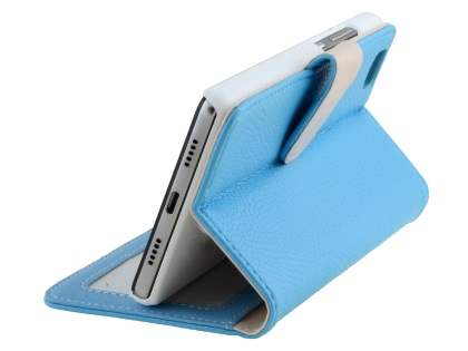 Synthetic Leather Wallet Case with Stand for Huawei P8Lite - Sky Blue