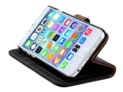 Synthetic Leather Wallet Case with Stand for iPhone 6s/6 - Classic Black