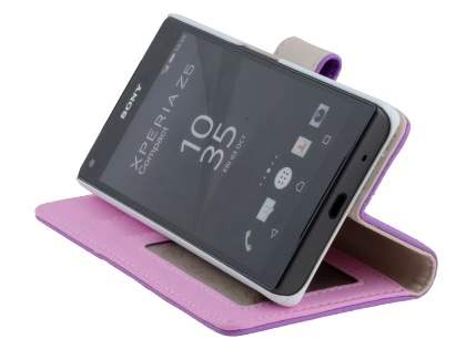 Slim Synthetic Leather Wallet Case with Stand for Sony Xperia Z5 Compact - Light Purple
