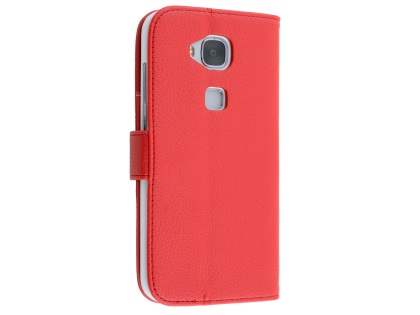 Synthetic Leather Wallet Case with Stand for Huawei G8 - Red