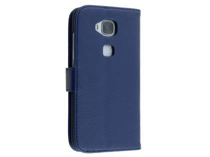 Synthetic Leather Wallet Case with Stand for Huawei G8 - Dark Blue Leather Wallet Case