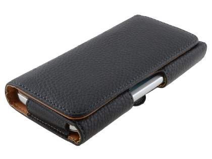 Synthetic Leather Belt Pouch (Bumper Case Compatible) for Sony Xperia M4 Aqua - Classic Black