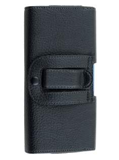Textured Synthetic Leather Belt Pouch (Bumper Case Compatible) for Huawei G8 - Classic Black