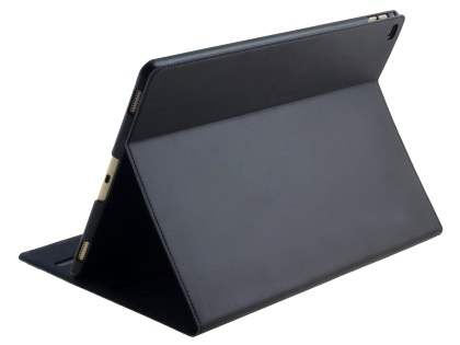 Premium Genuine Leather Portfolio Case with Stand for iPad Pro 12.9 - Classic Black Leather Flip Case