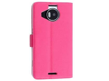 Slim Synthetic Leather Wallet Case with Stand for Microsoft Lumia 950 XL - Pink Leather Wallet Case