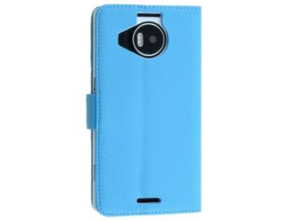 Slim Synthetic Leather Wallet Case with Stand for Microsoft Lumia 950 XL - Sky Blue Leather Wallet Case