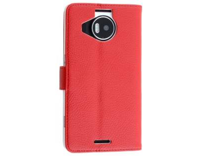 Slim Synthetic Leather Wallet Case with Stand for Microsoft Lumia 950 XL - Red Leather Wallet Case