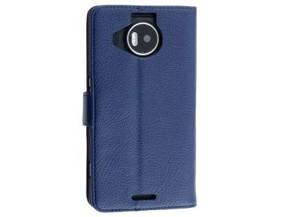 Slim Synthetic Leather Wallet Case with Stand for Microsoft Lumia 950 XL - Dark Blue Leather Wallet Case