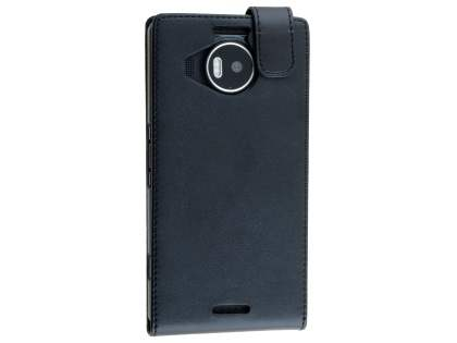 Synthetic Leather Flip Case for Microsoft Lumia 950 XL - Classic Black Leather Flip Case