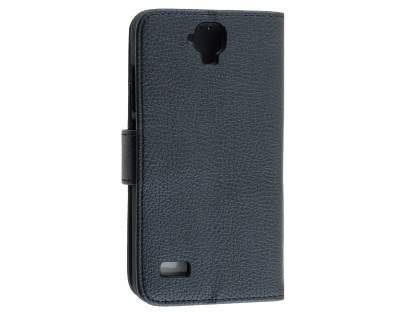 Synthetic Leather Wallet Case with Stand for Huawei Y5/Y560 - Classic Black Leather Wallet Case