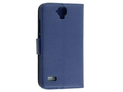 Synthetic Leather Wallet Case with Stand for Huawei Y5/Y560 - Dark Blue