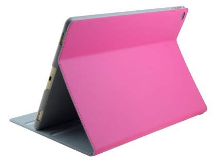 Premium Genuine Leather Portfolio Case with Stand for iPad Pro 12.9 - Pink Leather Flip Case
