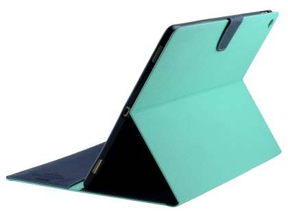 Mercury Colour Fancy Diary Case with Stand for iPad Pro 12.9 - Mint/Navy Leather Flip Case