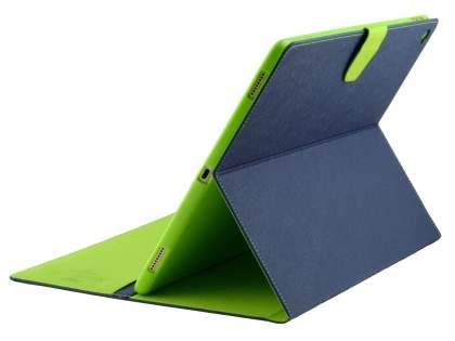 Mercury Colour Fancy Diary Case with Stand for iPad Pro 12.9 - Navy/Lime Leather Flip Case