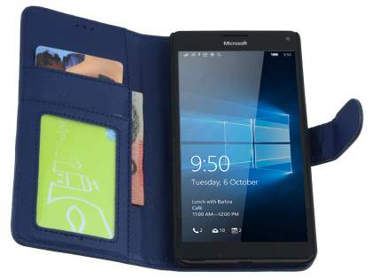 Slim Synthetic Leather Wallet Case with Stand for Microsoft Lumia 950 XL - Dark Blue