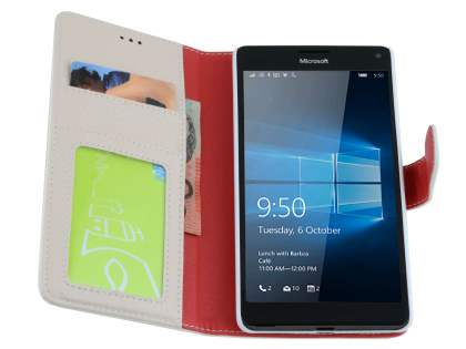 Slim Synthetic Leather Wallet Case with Stand for Microsoft Lumia 950 XL - Pearl White
